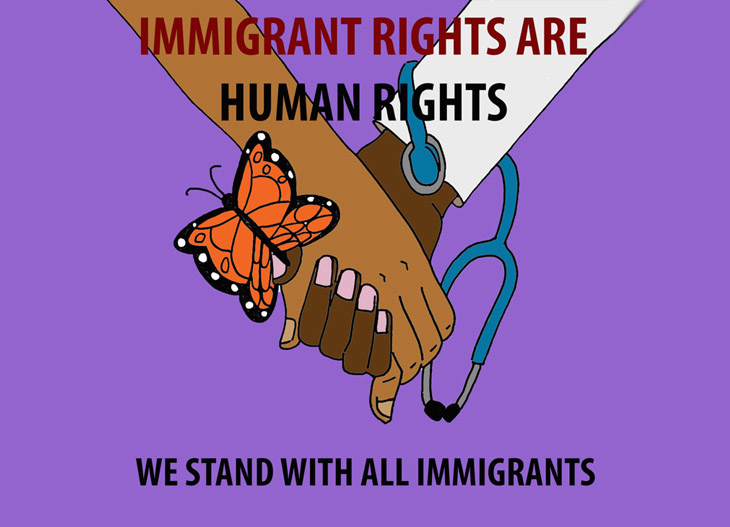 Immigrant Rights Are Human Rights: We Stand with All Immigrants. Join us to show solidarity and learn more ways to support.