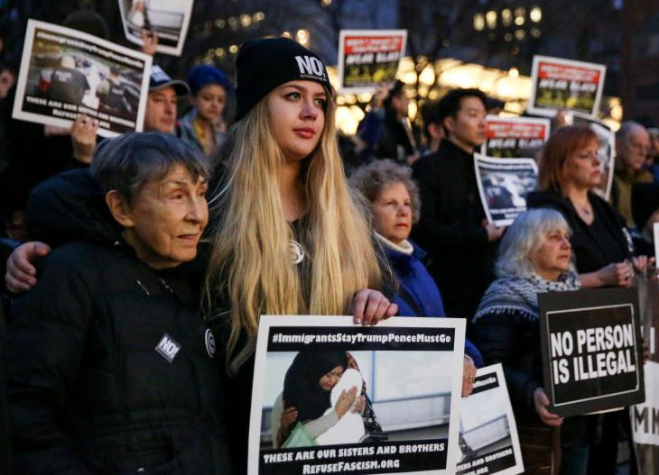 Activists and Deferred Action for Childhood Arrivals (DACA) recipients protest against the Trump administration's policies on immigrants and immigration, during a demonstration in Manhattan, New York, U.S., March 1, 2018. REUTERS/Amr Alfiky/File Photo