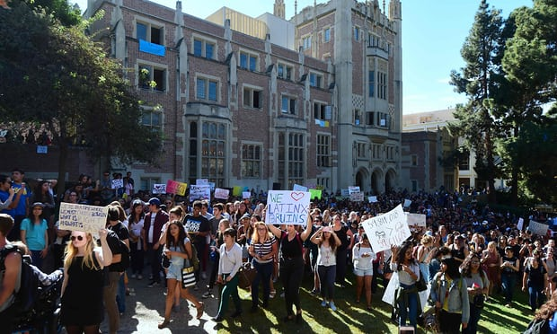 UCLA students march through campus