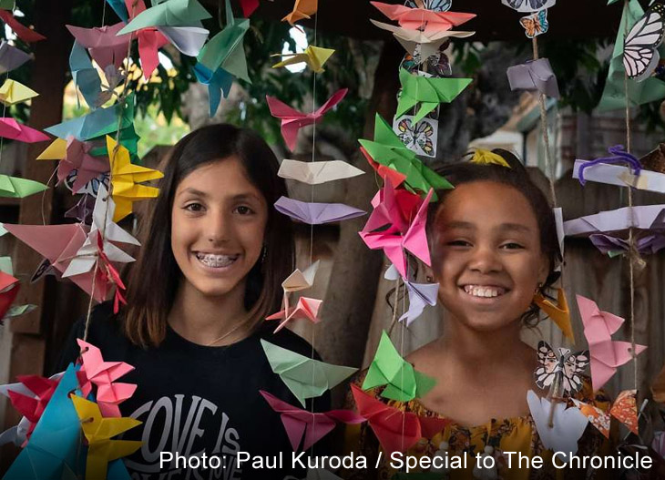 Kaia Marbin and Lillian Ellis put their art into action making origami butterflies, and now it is a national movement. (Photo: Paul Kuroda / Special to The Chronicle)
